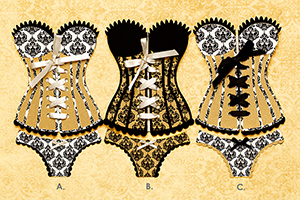 CLF Sexy Custom Designed Gold Corset Invitations